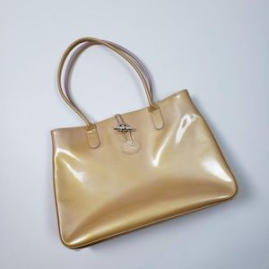 Longchamp Roseau Gold Patent Leather Tote